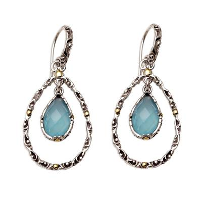 Handmade Chalcedony and Sterling Silver Dangle Earrings