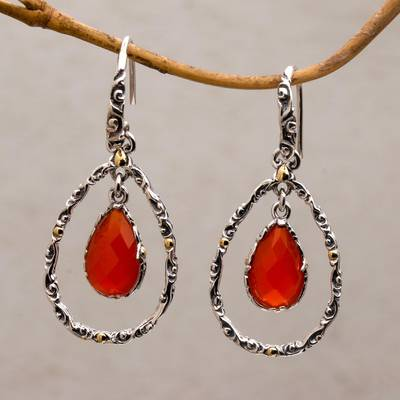 Gold accented chalcedony dangle earrings, 'Eternity Dew in Orange' - Chalcedony and Sterling Silver Gold Accented Dangle Earrings