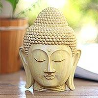 Wood statuette, 'Buddha Harmony' - Hand Crafted Balinese Crocodile Wood Buddha Head Statuette
