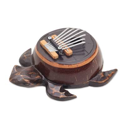 Coconut shell thumb piano, 'Turtle Tune' - Hand Crafted Balinese Coconut Shell Thumb Piano