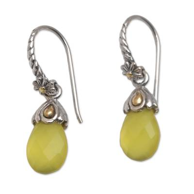 Yellow Chalcedony Sterling Silver Dangle Earrings from Bali