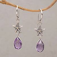 Gold accented amethyst dangle earrings, 'Starfish Drop' - Handmade Amethyst Sterling Silver Starfish Dangle Earrings