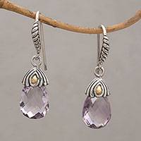 Gold accented amethyst dangle earrings, 'Floral Essence' - Handmade Amethyst Sterling Silver Dangle Earrings