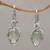Gold accented prasiolite dangle earrings, 'Touch of Jepun' - Prasiolite Sterling Silver Dangle Earrings Handmade in Bali thumbail