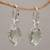 Gold accented prasiolite dangle earrings, 'Touch of Jepun' - Prasiolite Sterling Silver Dangle Earrings Handmade in Bali (image 2b) thumbail