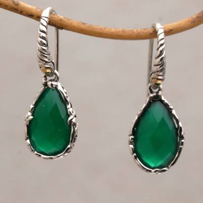 Chalcedony dangle earrings, 'Verdant Majesty' - Chalcedony and Gold Accented Sterling Silver Dangle Earrings