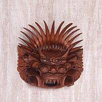 Wood mask, 'King Barong' - Hand Carved Suar Wood Wall Mask from Indonesia