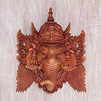 Wood mask, 'Balinese Ganesha' - Hand Carved Suar Wood Ganesha Wall Mask from Bali