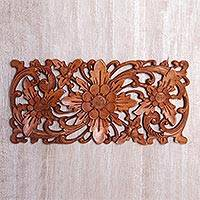 Wood wall relief panel, 'Majestic Flowers' - Hand Carved Suar Wood Floral Wall Panel