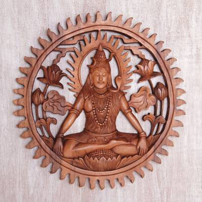 Wood wall relief panel, 'Lord Shiva' - Hand Carved Suar Wood Shiva Wall Panel