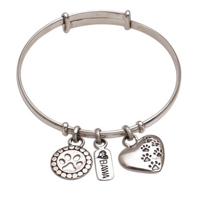 Paw Print Motif Sterling Silver Charm Bracelet from Bali