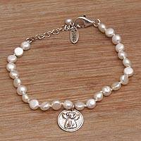 Cultured pearl beaded bracelet, 'Canine Angel' - Puppy-Themed Cultured Pearl Beaded Bracelet from Bali