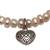 Cultured pearl beaded stretch charm bracelet, 'Canine Heart' - Heart Charm Cultured Pearl Beaded Stretch Bracelet from Bali (image 2d) thumbail