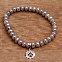 Cultured pearl beaded stretch bracelet, 'Paw Memento' - Paw Print Cultured Pearl Beaded Stretch Bracelet from Bali