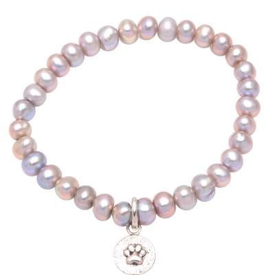 Paw Print Cultured Pearl Beaded Stretch Bracelet from Bali