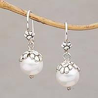 Cultured pearl dangle earrings, 'Moonlit Paws' - Cultured Freshwater Pearl Paw Print Dangle Earrings