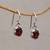 Garnet dangle earrings, 'Caressed by Paws' - Paw Print Faceted Garnet Dangle Earrings from Bali (image 2b) thumbail