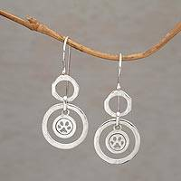 Sterling silver dangle earrings, 'Dancing Paws' - Paw Print Motif Sterling Silver Dangle Earrings from Bali