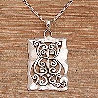Sterling silver pendant necklace, 'Cat Swirls' - Cat Motif Sterling Silver Pendant Necklace from Bali
