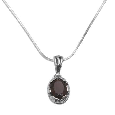 Smoky Quartz and Sterling Silver Paw Print Pendant Necklace