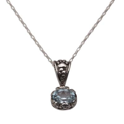 Blue Topaz and Sterling Silver Paw Print Pendant Necklace