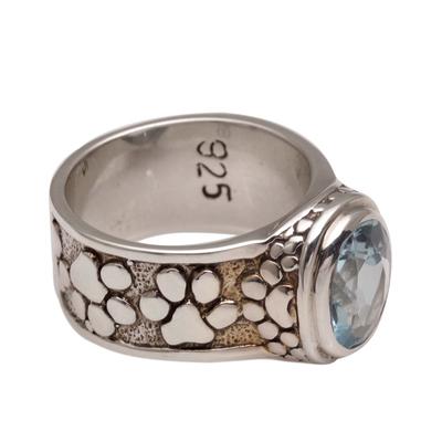 Handmade 925 Sterling Silver Blue Topaz Cocktail Ring