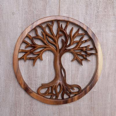 Wood relief panel, 'Radiant Tree' - Hand Carved Suar Wood Tree Round Wall Panel