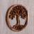 Wood relief panel, 'Radiant Tree' - Hand Carved Suar Wood Tree Round Wall Panel (image 2b) thumbail