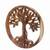 Wood relief panel, 'Radiant Tree' - Hand Carved Suar Wood Tree Round Wall Panel (image 2c) thumbail