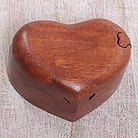 Wood puzzle box, 'All My Love' - Hand Carved Suar Wood Puzzle Heart Box from Bali