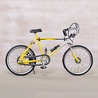 Aluminum model sculpture, 'Yellow Pit Balap' - Aluminum Model Bicycle Sculpture in Yellow from Java