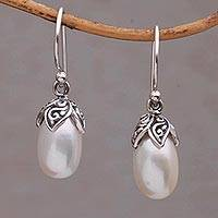 Cultured pearl dangle earrings, 'Moonlight Seeds' - Handmade 925 Sterling Silver Cultured Pearl Dangle Earrings