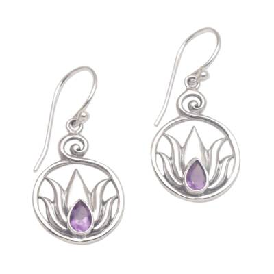 Amethyst dangle earrings, 'Lotus Soul' - Handmade 925 Sterling Silver Amethyst Lotus Earrings
