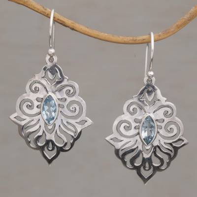 Blue topaz dangle earrings, 'Glacial Soul' - Hand Crafted Blue Topaz and Sterling Silver Dangle Earrings