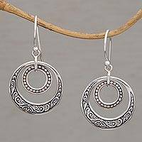 Sterling silver dangle earrings, 'Dreamy Wanderer' - Hand Crafted Balinese Sterling Silver Dangle Earrings