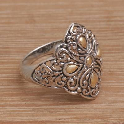 silver ring splint sizing kit - Gold Accented Sterling Silver Botanical Path Cocktail Ring