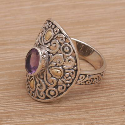 Amethyst in Gold Accented Sterling Silver Cocktail Ring