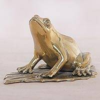 Bronze statuette, 'Frog Blessings' - Handcrafted Balinese Golden Bronze Frog Statuette