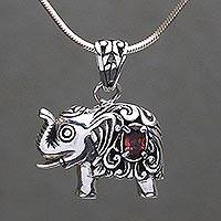 Garnet pendant necklace, 'Royal Elephant' - Garnet and Sterling Silver Elephant Pendant Necklace