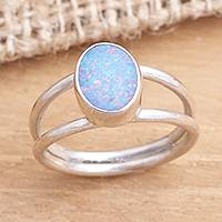 Opal single stone ring, 'Oval Sky' - Opal and Sterling Silver Single Stone Ring from Bali