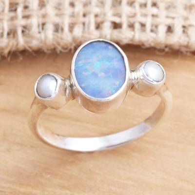 Opal and cultured pearl cocktail ring, 'The Moon and the Sea' - Handmade Opal Cultured Pearl 925 Sterling Silver Ring