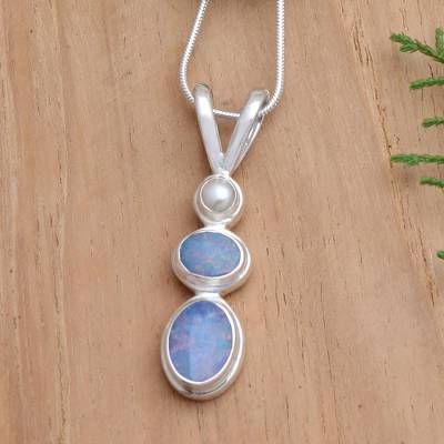 Opal and cultured pearl pendant necklace, 'Sea Symphony' - Handmade Opal Freshwater Cultured Pearl Pendant Necklace