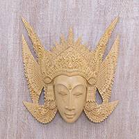 Wood mask, 'Cili Lady' - Hand-Carved Cultural Wood Wall Mask from Bali