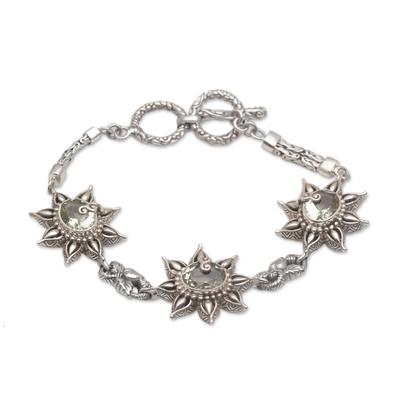 Unique Light Green Sterling Silver Prasiolite Flower Pendant Bracelet