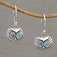 Blue topaz dangle earrings, 'Owl's Bright Gaze' - Petite Sterling Silver and Blue Topaz Owl Earrings