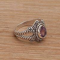 Amethyst cocktail ring, 'Crown of Celuk' - Amethyst and Sterling Silver Solitaire Ring from Bali