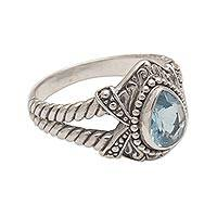 Blue topaz cocktail ring, 'Crown of Celuk' - Blue Topaz and Sterling Silver Solitaire Ring from Bali