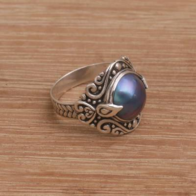 Cultured pearl cocktail ring, 'Bali Grace' - Blue Cultured Pearl Cocktail Ring from Bali