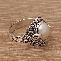 Cultured pearl cocktail ring, 'Bali Elegance' - 925 Sterling Silver Freshwater Cultured Pearl Cocktail Ring