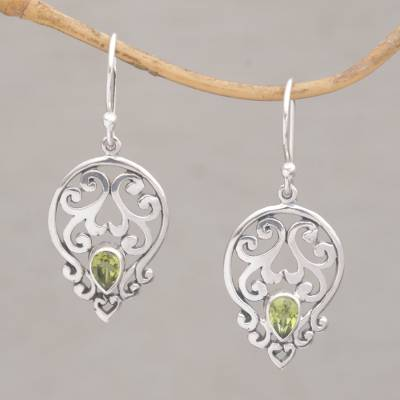 Peridot dangle earrings, 'Dialogue in Green' - Handmade 925 Sterling Silver Green Peridot Dangle Earrings